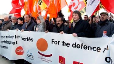 Les principaux leaders syndicaux en février dernier, unis pour leur droit à manifester (image d'illustration)