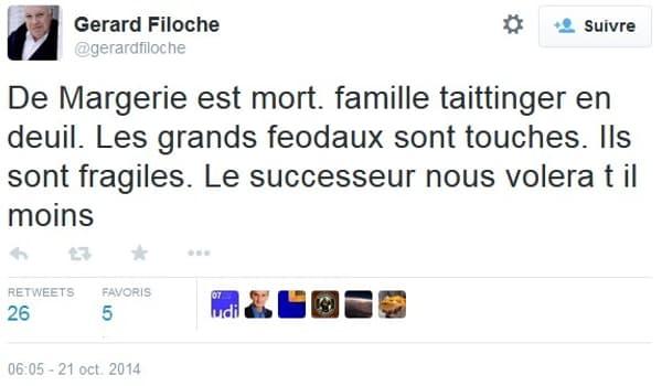 Gérard Filoche réagit à la mort de Christophe de Margerie, président-directeur du groupe Total, en 2014