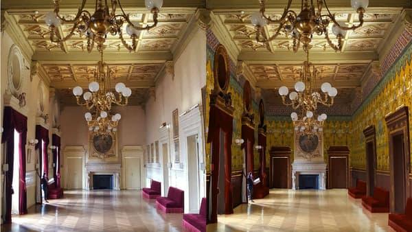 Le Grand Foyer avant et après rénovation.