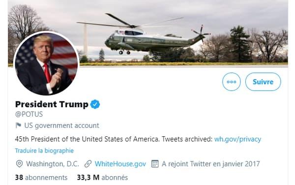 Le compte @Potus, alloué à Donald Trump