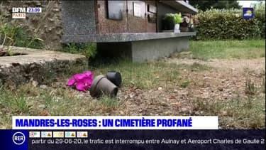 Mandres-les-Roses: le cimetière profané à coups de parpaings