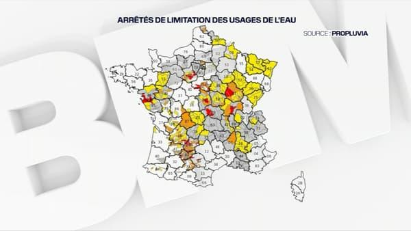 La carte des restrictions d'eau