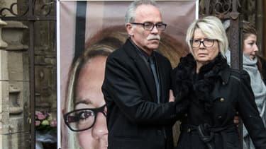 Les parents d'Alexia Daval loes des obsèques de leur fille, le 8 novembre 2017.