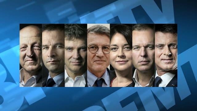 Les candidats de la primaire de la gauche pour l'élection présidentielle.