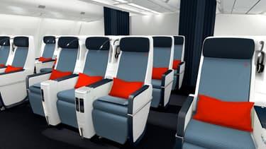 En Economy Premium, la classe intermédiaire entre l'éco et la business, le nouveau siège offrira une inclinaison maximale de 130°.