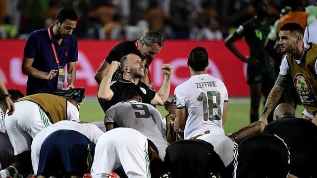 Djamel Belmadi après la qualification de l'Algérie en finale de la Coupe d'Afrique des nations, au Caire le 14 juillet 2019