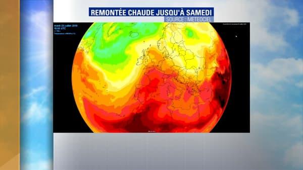 L'air chaud remontant du Sahara va arriver sur la France lundi.