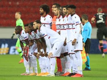 L'OGC Nice lors de la Ligue Europa 2020-2021, à Leverkusen le 22 octobre 2020