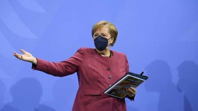 La chancelière allemande Angela Merkel, le 2 juin 2021 à Berlin