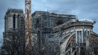 Chantier de reconstruction de la cathédrale Notre-Dame de Paris, le 26 décembre 2019