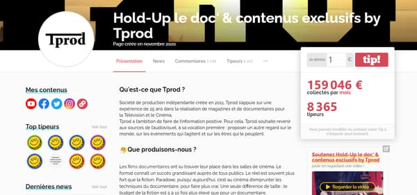 "La page Tipeee du documentaire ""Hold-Up"""