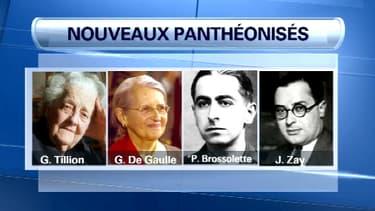 """Germaine Tillion, Geneviève De Gaulle, Pierre Brossolette et Jean Zay devraient être les quatre prochains """"panthéonisés""""."""