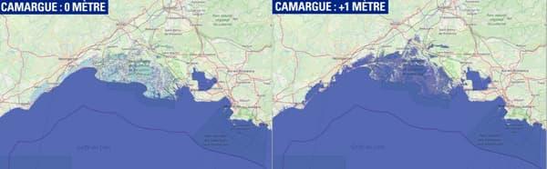 Côte maritime Camargue montée des eaux