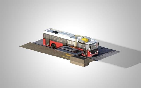 Les batteries sont placées sur le toit du véhicule, le système de rechargement par induction sous son châssis.