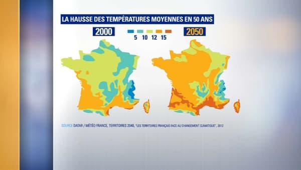 Carte France canicule chaleur 2050