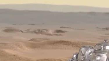 Vue d'artiste de Schiaparelli sur le sol martien.