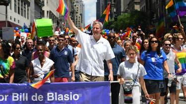 Le maire de New York, Bill de Blasio, lors d'une manifestation à New York.