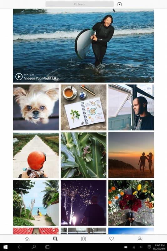 On peut accéder à toute l'expérience mobile d'Instagram sur tablette et PC tactile.