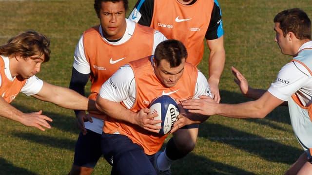L'équipe de France de rugby à l'entraînement