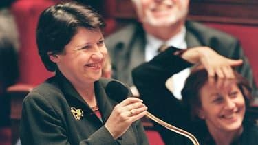 Martine Aubry, alors ministre du Travail, en mars 1998, lors des débats sur les 35h à l'Assemblée nationale.