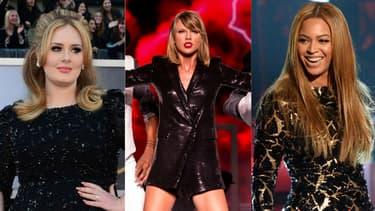 Adele, Taylor Swift et Beyoncé, le trio de tête