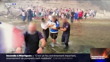 Incendies dans les Bouches-du-Rhône: les images des touristes évacués par la mer