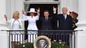 Brigitte Macron, Melania Trump, Emmanuel Macron et Donald Trump au balcon de la Maison Blanche, à Washington