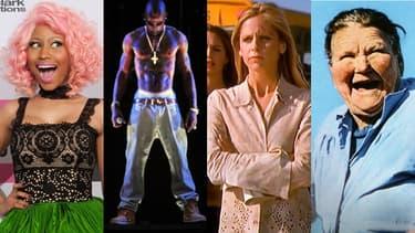 De gauche à droite: la chanteuse Nicki Minaj, le rappeur Tupac Shakur, l'héroïne de série Buffy, et la Mère Denis.