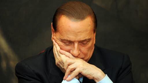 Sylvio Berlusconi le 1er février 2012 au Parlement italien à Rome.
