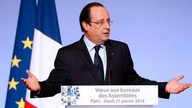 François Hollande, lors de ses voeux aux milieux socio-professionnels du 21 janvier.