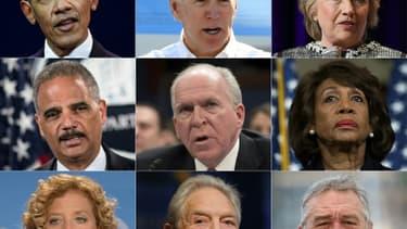 Montage des personnalités visées, du haut vers le bas et de gauche à droite: Barack Obama, Joe Biden, Hillary Clinton, Eric Holder, John Brennan, Maxine Waters, Debbie Wasserman Schultz, George Soros, Robert de Niro