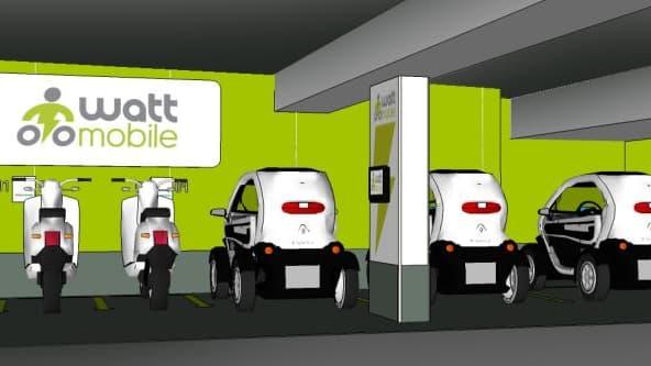 Wattmobile lance dans 4 gares françaises dont la gare de Lyon son système de location de véhicules électriques pour professionnels
