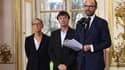 De gauche à droite, Élisabeth Borne (Transport), Nicolas Hulot (Transition écologique) et Édouard Philippe (Premier ministre), en décembre 2017.