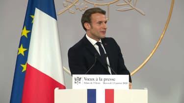 Emmanuel Macron lors de ses voeux à la presse.