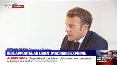 """Emmanuel Macron: """"Beyrouth est touchée en plein cœur, avec un peuple qui pleure ses morts"""""""