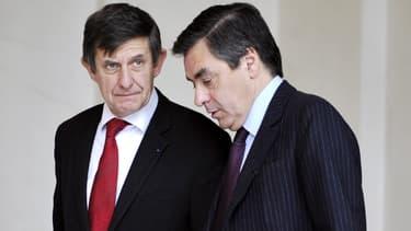 Le secrétaire général de l'Elysée Jean-Pierre Jouyet et l'ex-Premieer ministre François Fillon (ici photographiés en novembre 2008).