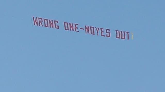 La banderole anti-Moyes à Old Trafford