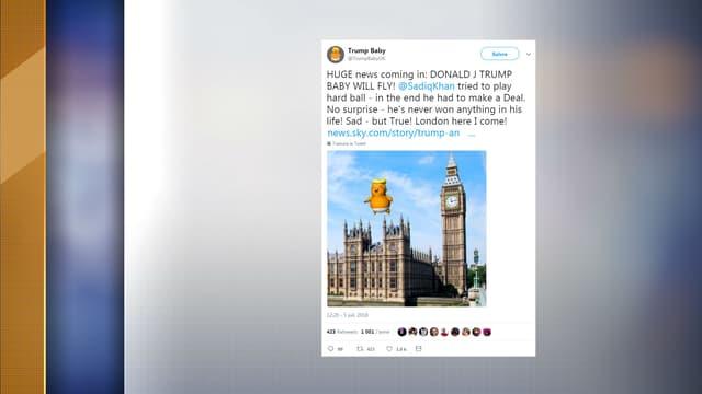 """Un gigantesque ballon à l'effigie d'un """"Bébé Donald Trump"""" devrait voler au-dessus de Londres le 13 juillet."""