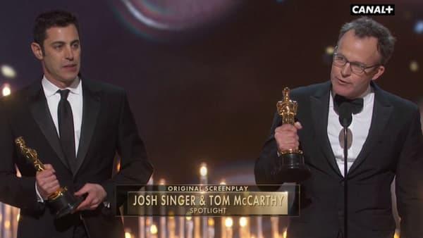 """Les scénaristes de """"Spotlight"""" aux Oscars 2016"""