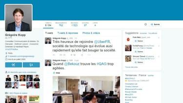 Sur son compte Twitter, Grégoire Kopp se réjouit d'être nommé à la com d'Uber. Il n'a pas toujours été positif avec le site de VTC