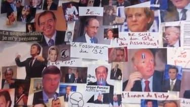 """Le """"mur des cons"""", où les photos nombreuses personnalités politiques (surtout de droite) étaient affichées."""
