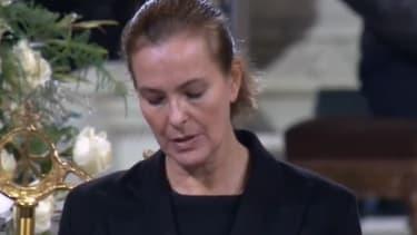 Carole Bouquet lors de la cérémonie religieuse en l'honneur de Johnny Hallyday, samedi 9 décembre