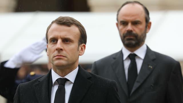 Emmanuel Macron et Edouard Philippe lors de la cérémonie en hommage à Arnaud Beltrame, le 28 mars 2018