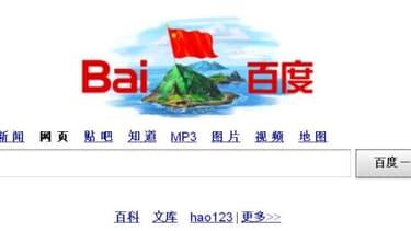 Sur sa page d'accueil, Baidu, le Google chinois, affiche un dessin de l'île de la discorde surmontée d'un drapeau chinois