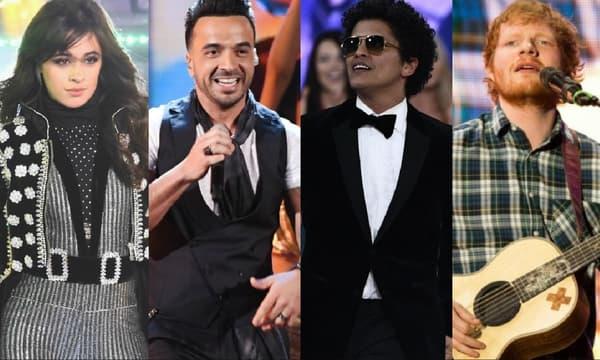 Camila Cabello, Luis Fonsi, Bruno Mars et Ed Sheeran font partie des artistes les plus écoutées le soir du 31 décembre.