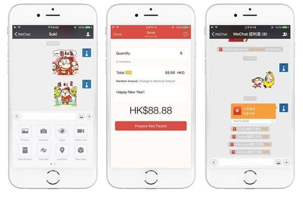 L'interface de l'application WeChat