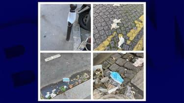 Quelques masques jetés par terre dans les rues de Paris.