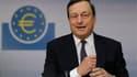 Conférence de presse du président de la Banque centrale européenne, Mario Draghi à Francfort. La BCE a décidé de lancer un nouveau programme de rachat d'obligations dans le but de faire baisser les coûts de financement des Etats de la zone euro en difficu