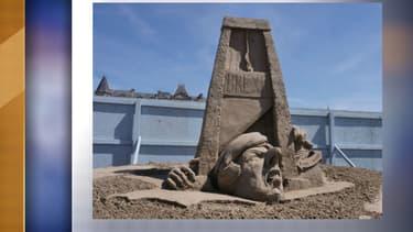 Sculpture de sable réalisée par l'artiste Johannes Hogebrink au festival de Weston-super-Mare, le 14 mai 2019
