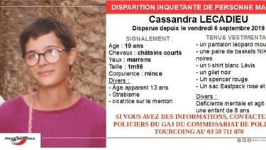 Appel à témoins après la disparition de Cassandra Lecadieu, le 6 septembre 2019 à Lille